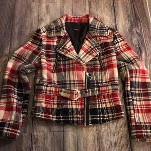 Express crop plaid jacket Sz M